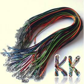 Voskovaný bavlněný náhrdelník s karabinkou - obvod 41 cm