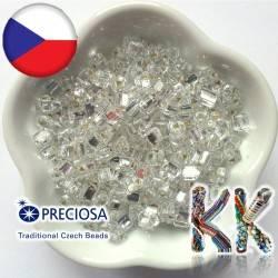 Preciosa Trojúhelníky - průhledné se stříbrným průtahem - 5 x 5 mm