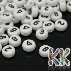 Korálky s čísly - mix - ∅ 7 x 4 mm - 50 g (cca 350 ks)