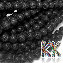Přírodní černá láva - ∅ 6 mm - kuličky