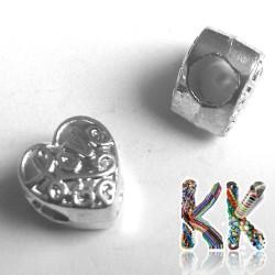 Korálek s širokým průvlekem - srdce - 9 x 10 x 7 mm