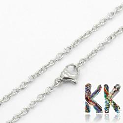 304 Nerezový náhrdelníkový řetízek s karabinkou - délka 49 cm