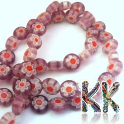 Millefiori korálek - placička - ∅ 8 x 4 mm