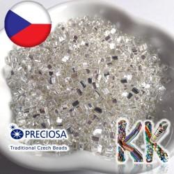 Preciosa Trojúhelníky - průhledné se stříbrnou linkou - 3,5 x 3,5 mm