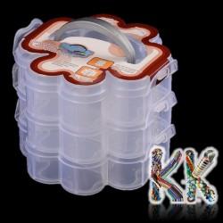 3 patrový box na korálky s uchem - tvar čtyřlístek- 165 x 145 x 125 mm