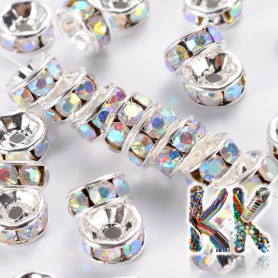 Mosazná šatonová rondelka - stříbrná - ∅ 6 x 3 mm - kvalita A