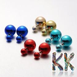 Náušnice pokovené plastové perlové puzetové náušnice - ∅ 8 a 15,5 mm 0055