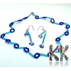 Modrý set - náhrdelník + náušnice