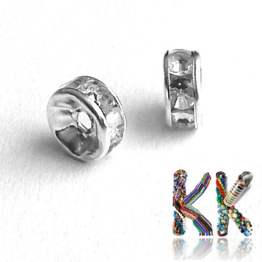 Šatonová rondelka - stříbrná - ∅ 7 x 3 mm