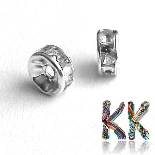 Mosazná šatonová rondelka - stříbrná - ∅ 7 x 3 mm - kvalita B