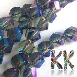 Broušený dodekaedr - pokovený průhledný - 8 x 8 x 8 mm