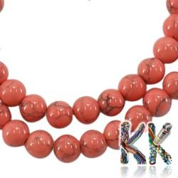 Syntetické howlitové korálky - červené - ∅ 8 mm - kulička
