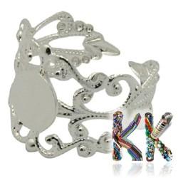 Ozdobný prsten s lůžkem - stříbrný - pro kabošon ∅ 8 mm