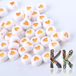 Korálky se srdíčky - bílé lentilky se srdíčky - ∅ 7 x 4 mm