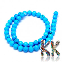 Přírodní modrý sinkiangský tyrkys - ∅ 8 mm - kulička