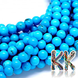 Přírodní modrý sinkiangský tyrkys - ∅ 6 mm - kulička