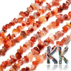 Přírodní červený achát - zlomky - 5-8 mm - váha 5 g (cca 8,5 cm)