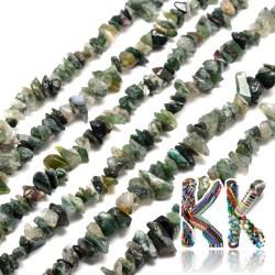 Přírodní mechový achát - zlomky - 5-8 mm - váha 5 g (cca 8,5 cm)