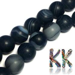 Přírodní zmatnělý proužkatý achát - ∅ 8 mm - barvená kulička