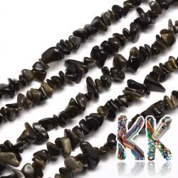 Přírodní zlatavý obsidián- zlomky - 5-8 mm - 5 g