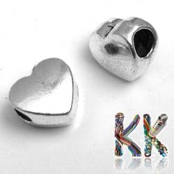 Korálek s širokým průvlekem - srdce - 11 x 10 x 6,5 mm