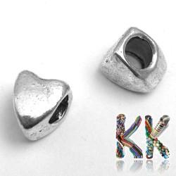 Korálek s širokým průvlekem - srdce - 7,5 x 9 x 6 mm