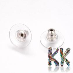 Náušnicová zarážka - stříbrná - 11 x 11 x 7 mm