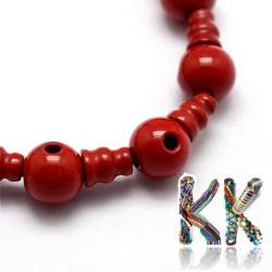 Přírodní červený jaspis - 16,5 mm - třídírkatý a guru korálek
