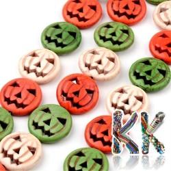 Syntetický tyrkys - 15 x 3 mm - barevné halloweenové dýně