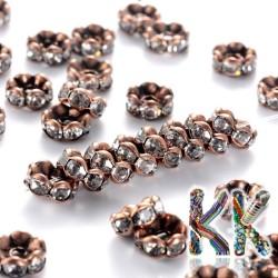 Mosazná šatonová rondelka - měděná, vlnitá - ∅ 8 x 3,8 mm - kvalita AAA