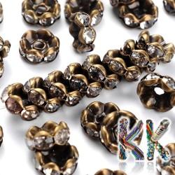 Mosazná šatonová rondelka - starobronzová, vlnitá - ∅ 8 x 4 mm - kvalita A
