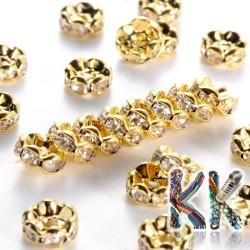 Mosazná šatonová rondelka - zlatá, vlnitá - ∅ 8 x 3,8 mm - kvalita AAA