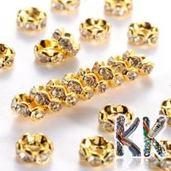 Mosazná šatonová rondelka - zlatá, vlnitá - ∅ 6 x 3 mm - kvalita AAA
