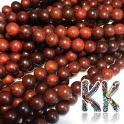 Korálky z dřeva santoského palisandu - ∅ 8 mm - kulička