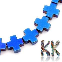 Nemag. hematit - kříž - pokovený - 10 x 10 x 4 mm