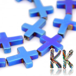 Nemag. hematit - kříž - pokovený - 17 x 14 x 4 mm