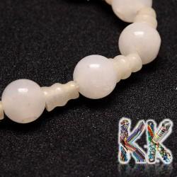 Přírodní bílý nefrit - ∅ 10 x 16,5 mm - třídírkatý a guru korálek