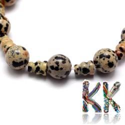 Přírodní dalmatýnský jaspis - ∅ 10 x 16,5 mm - třídírkatý a guru korálek