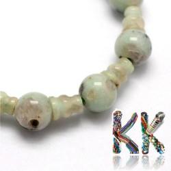 Přírodní bílý sezamový jaspis - ∅ 10 x 16,5 mm - třídírkatý a guru korálek