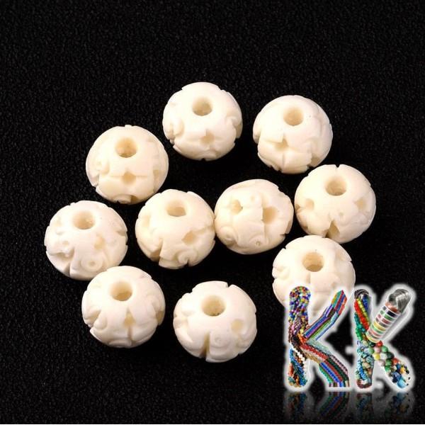 Hovězí kostěné korálky - ∅ 10 x 8 mm - oválky