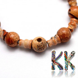Přírodní obrázkový jaspis - ∅ 10 x 16,5 mm - třídírkatý a guru korálek