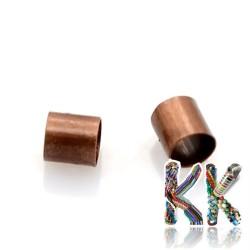 Mosazný zamačkávací rokajl - trubička - ∅ 3 x 3 mm - množství 1 g (cca 45 ks)