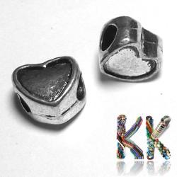 Korálek s širokým průvlekem - srdce - 9 x 9,6 x 6,6 mm