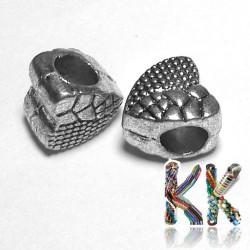 Korálek s širokým průvlekem - srdce - 9,5 x 9,2 x 7,4 mm