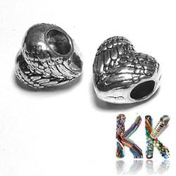 Korálek s širokým průvlekem - srdce - 11,2 x 11 x 7,6 mm