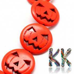 Syntetický tyrkys - 20 x 5 mm - barevné halloweenové dýně