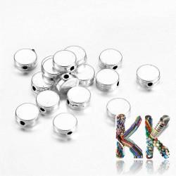 Oddělovací korálek z tibetského stříbra - plochý kruh - ∅ 7 x 3 mm