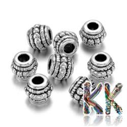 Oddělovací korálek z tzv. tibetského stříbra - soudeček - ∅ 8 x 6,5 mm