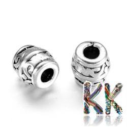 Oddělovací korálek z tibetského stříbra - soudeček - ∅ 8 x 8 mm