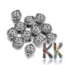Oddělovací korálek z tibetského stříbra - plochý kruh - ∅ 8 x 5,5 mm